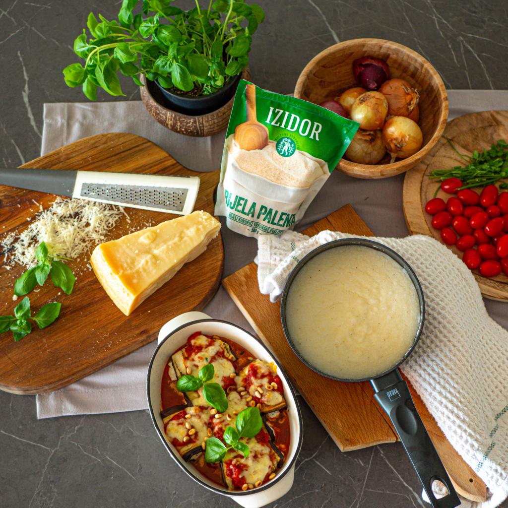 Zapečeni patlidžani punjeni ricotta sirom na podlozi od bijele palente